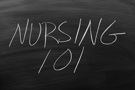 nursing class: The words Nursing 101 on a blackboard in chalk Stock Photo