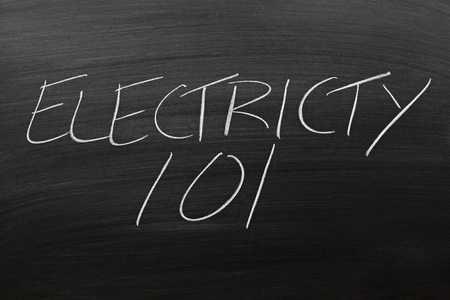remedial: The words Electricity 101 on a blackboard in chalk Stock Photo