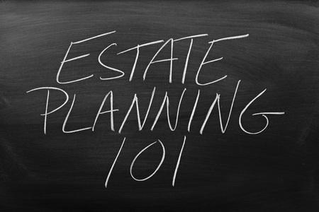 The words Estate Planning 101 on a blackboard in chalk Stock Photo