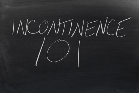 incontinence: The words Incontinence 101 on a blackboard in chalk Stock Photo