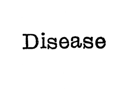 malaria: The word Disease from a typewriter on a white background