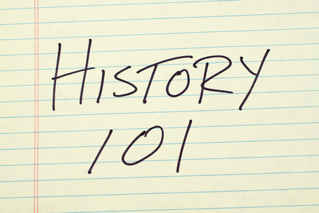 technical university: The words History 101 on a yellow legal pad