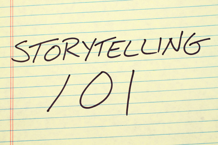 technical university: The words Storytelling 101 on a yellow legal pad Stock Photo