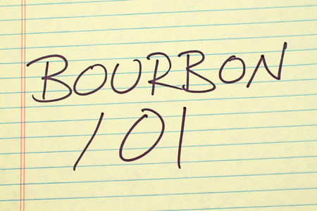 technical university: The words Bourbon 101 on a yellow legal pad Stock Photo