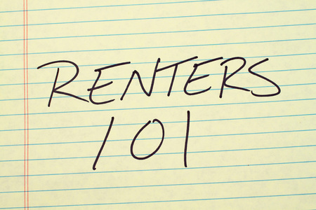 technical university: The words Renters 101 on a yellow legal pad