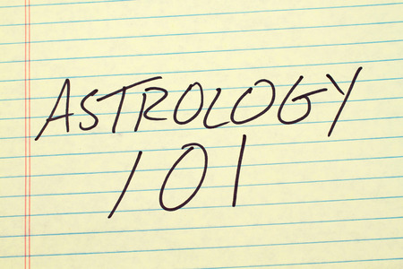 technical university: The words Astrology 101 on a yellow legal pad Stock Photo