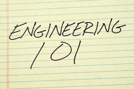 biology instruction: The words Engineering 101 on a yellow legal pad Stock Photo