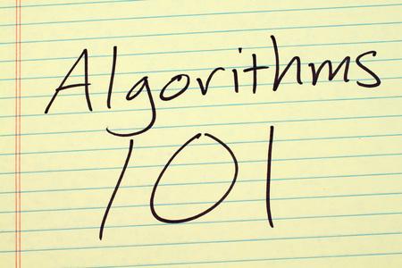 algorithms: The words Algorithms 101 on a yellow legal pad