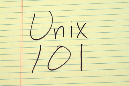 The words Unix 101 on a yellow legal pad