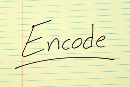The word Encode underlined on a yellow legal pad