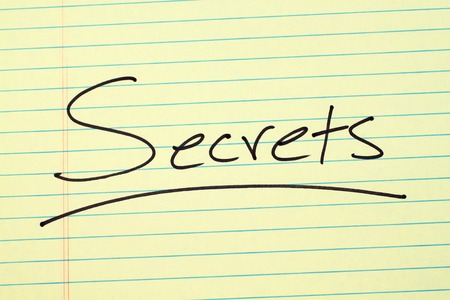 The word Secrets underlined on a yellow legal pad