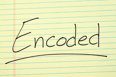The word Encoded underlined on a yellow legal pad