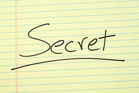 The word Secret underlined on a yellow legal pad Stock fotó