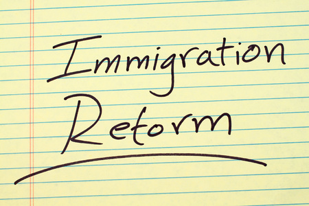 The word Immigration Reform underlined on a yellow legal pad Фото со стока