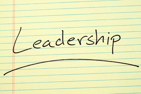 The word Leadership underlined on a yellow legal pad Stock fotó