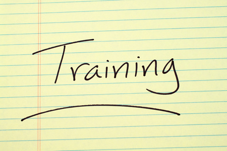 The word Training underlined on a yellow legal pad Stock fotó - 87793205