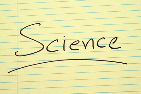 The word Science underlined on a yellow legal pad Stock fotó