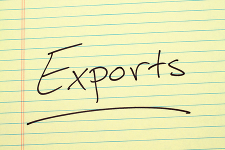 The word Exports underlined on a yellow legal pad