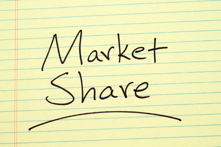 The word Market Share underlined on a yellow legal pad