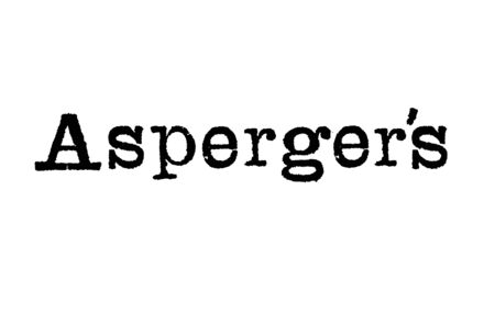 The word Aspergers from a typewriter on a white background