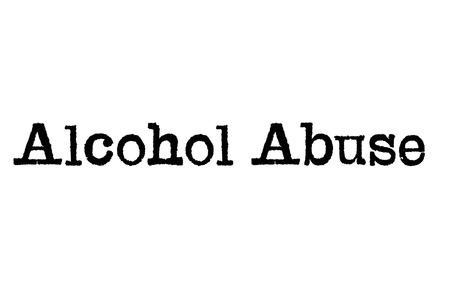 The word Alcohol Abuse from a typewriter on a white background Stock Photo