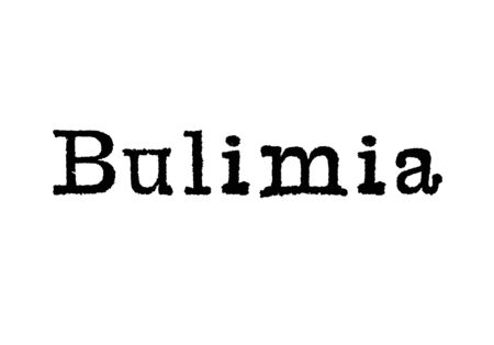 The word Bulimia from a typewriter on a white background