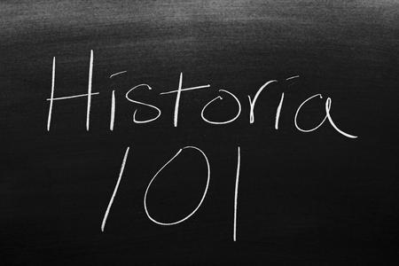 Las palabras Historia 101 en una pizarra con tiza