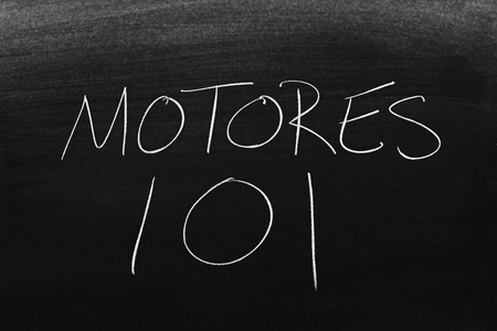 The words Motores 101 on a blackboard in chalk.  Translation: Engines 101 Stock Photo