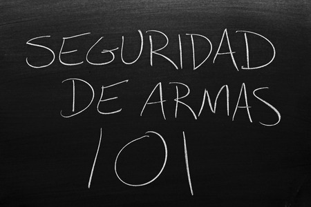 The words Seguridad De Armas 101 on a blackboard in chalk.  Translation: Gun Safety 101