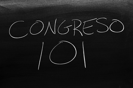 The words Congreso 101 on a blackboard in chalk.  Translation: Congress 101