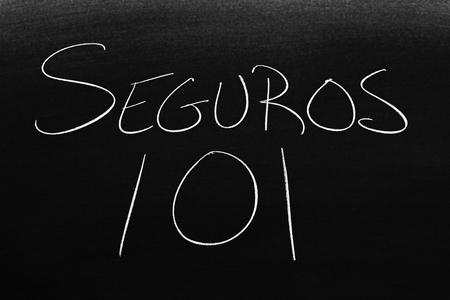 The words Seguros 101 on a blackboard in chalk.  Translation: Insurance 101