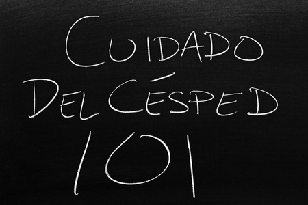 The words Cuidado Del Césped 101 on a blackboard in chalk.  Translation: Lawn Care 101 Stock Photo