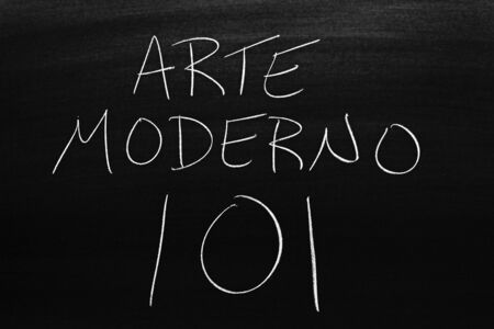 The words Arte Moderno 101 on a blackboard in chalk.  Translation: Modern Art 101 写真素材