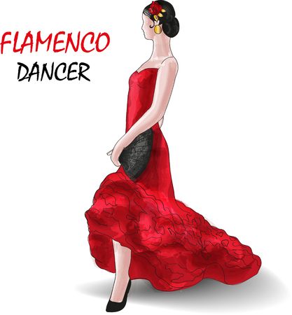 The flamenco dance is performed by a slender girl Иллюстрация