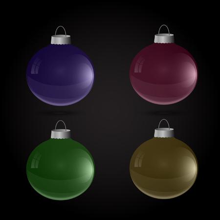 Christmas balls toys set vector illustration. Ilustração