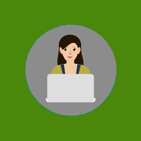Young girl with a laptop. vector.