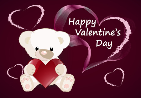 Greeting card with a cute bear Valentines day. vector