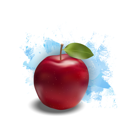 Red apple realistic fruits on a blue background Vector illustration. Çizim