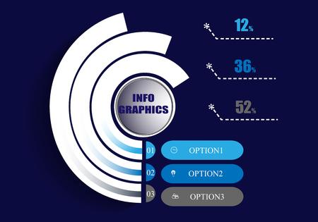 Abstrakte Infografiken-Vorlage auf blauem Hintergrund. Vektor-Illustration