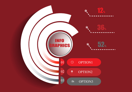 Abstract infographics template on a red background. vector illustration