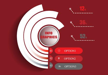Abstrakte Infografiken-Vorlage auf rotem Grund. Vektor-Illustration