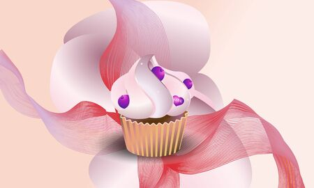 Background yummy cupcake with blueberry.  Vector illustration.