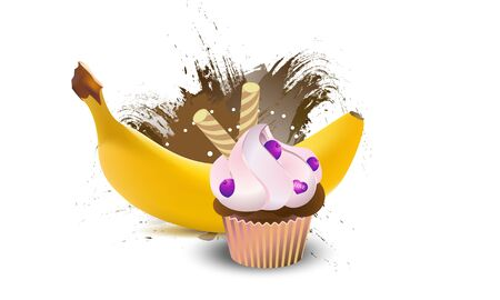 Yellow banana realistic fruits  with cupcake. Vector illustration. Çizim