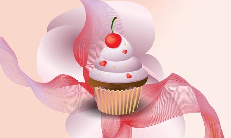 Background yummy cupcake with cherry.  Vector illustration.