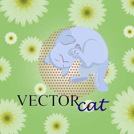 Cute blue cat illustration