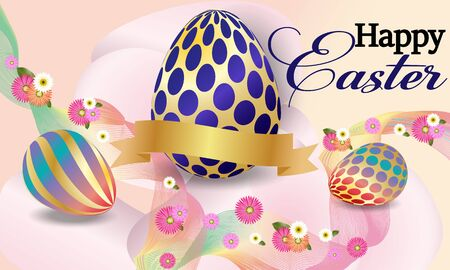 Happy Easter  background with easter eggs and flowers. Vector image.