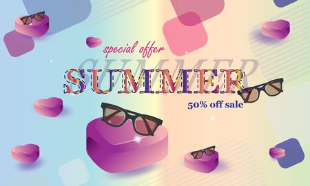 Summer sale banner with elements of old eyeglasses and hearts. Vector Illustrations - Vector Images Çizim
