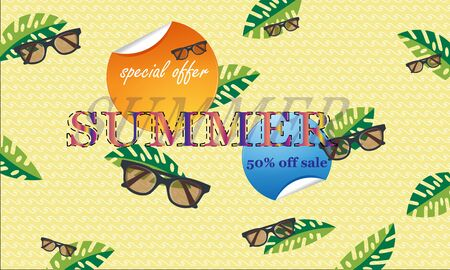 The concept of a postcard on a summer theme with summer attributes.  Vector illustration, banner. - Images vectorielles