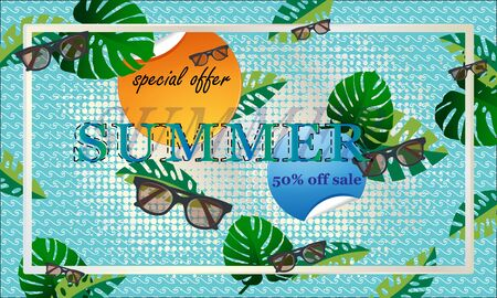 Summer sale banner with elements of  eyeglasses and tropical leaves.