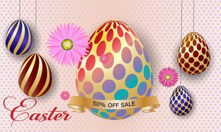 Greeting Card. Happy easter background template with beautiful flowers and eggs. Vector illustration eggs.